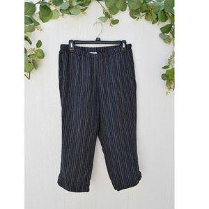 J Jill Love Linen black white stripe petite pant